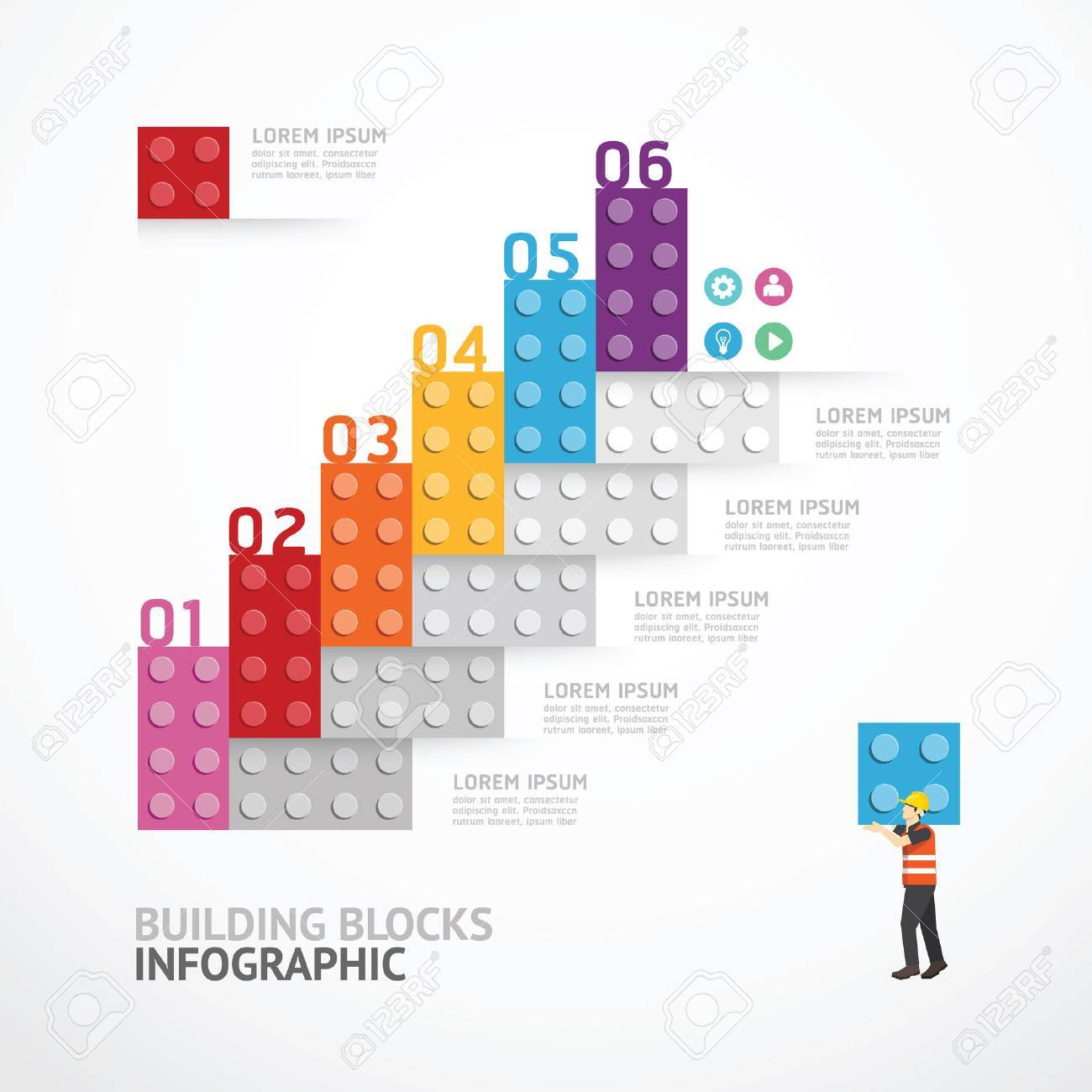 infographic template step building blocks banner concept