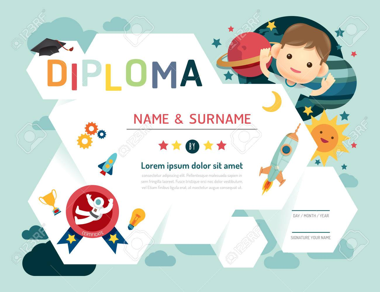 Certificate kids diploma kindergarten template layout space certificate kids diploma kindergarten template layout space background frame design vector education preschool concept yelopaper
