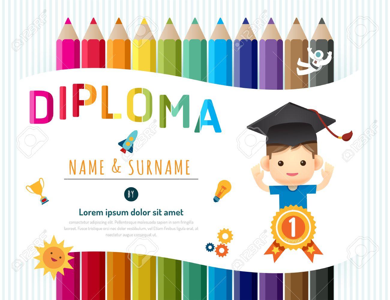 Niños Diploma Certificado, Plantilla De Jardín De Infancia Lápiz De ...