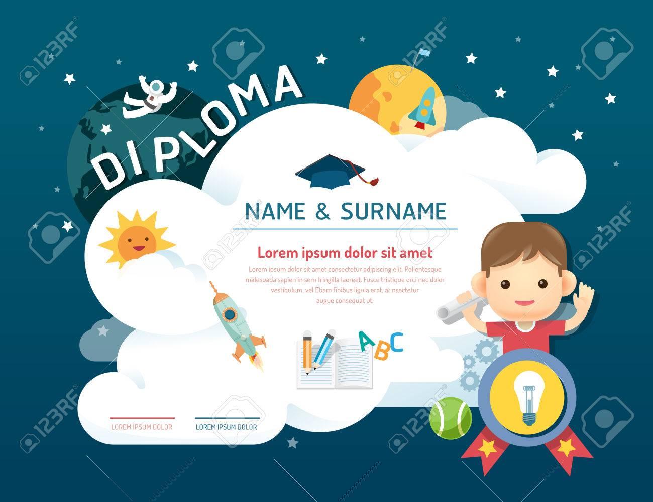Niños Diploma Certificado, Guardería Plantilla De Diseño De Fondo ...