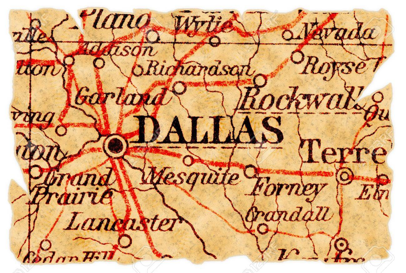 Old Dallas Map.Dallas Texas On An Old Torn Map From 1949 Isolated Part Of