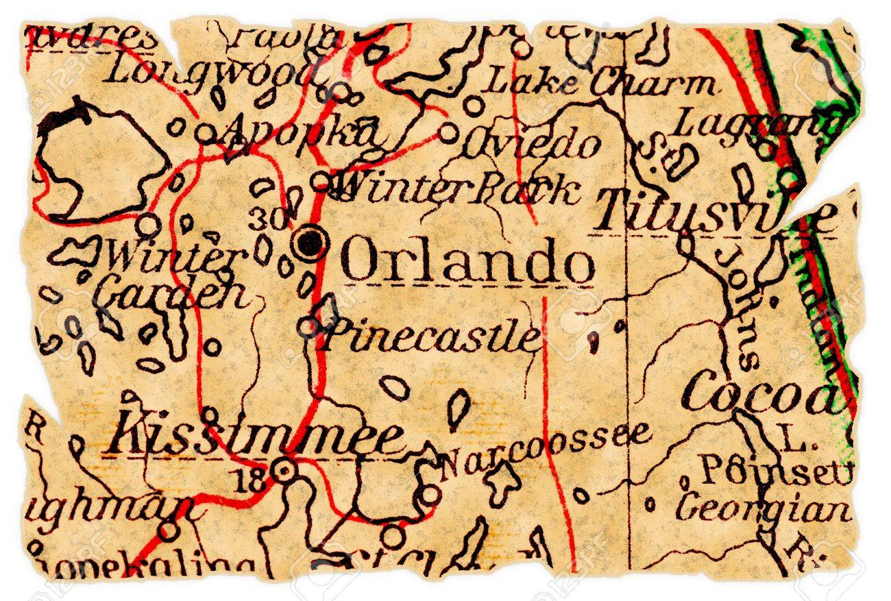Orlando Florida On Map.Orlando Florida On An Old Torn Map From 1949 Isolated Part