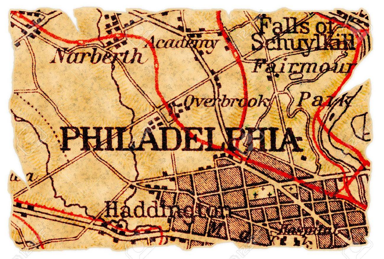 Philadelphia, Pennsylvania On An Old Torn Map From 1949, Isolated ...