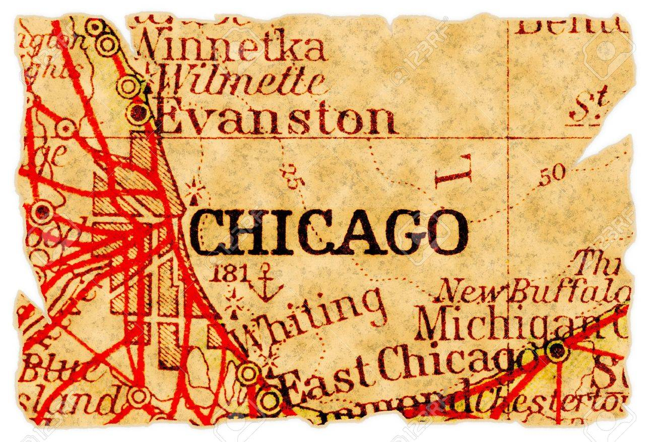 Chicago, Illinois On An Old Torn Map From 1949, Isolated. Part ...