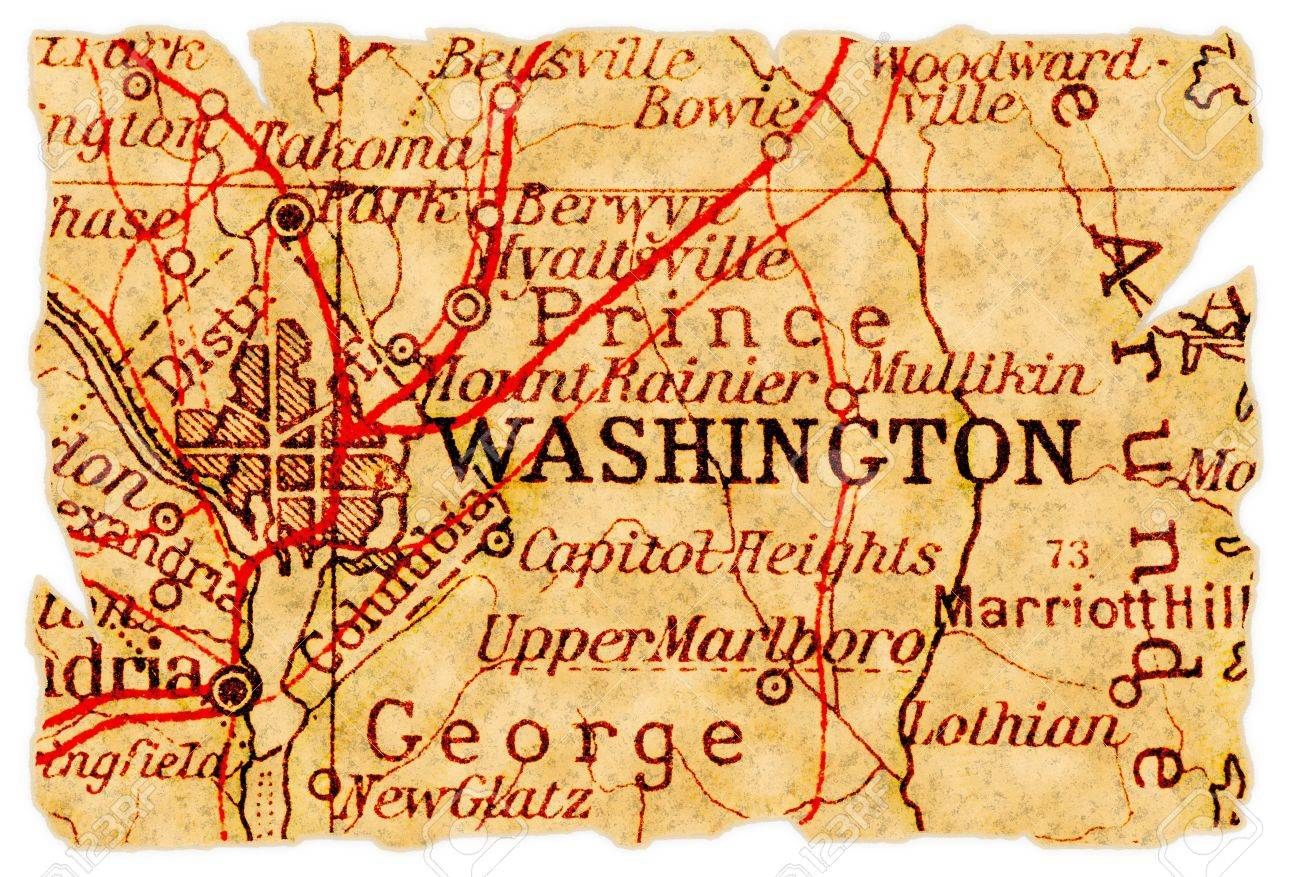Washington DC On An Old Torn Map From  Isolated Part - Washington dc hill map