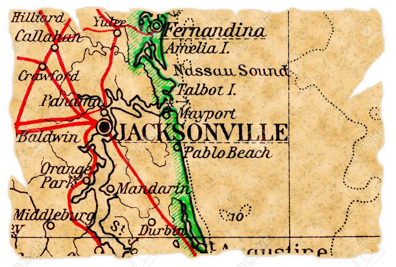 Jacksonville, Florida on an old torn map from 1949, isolated...