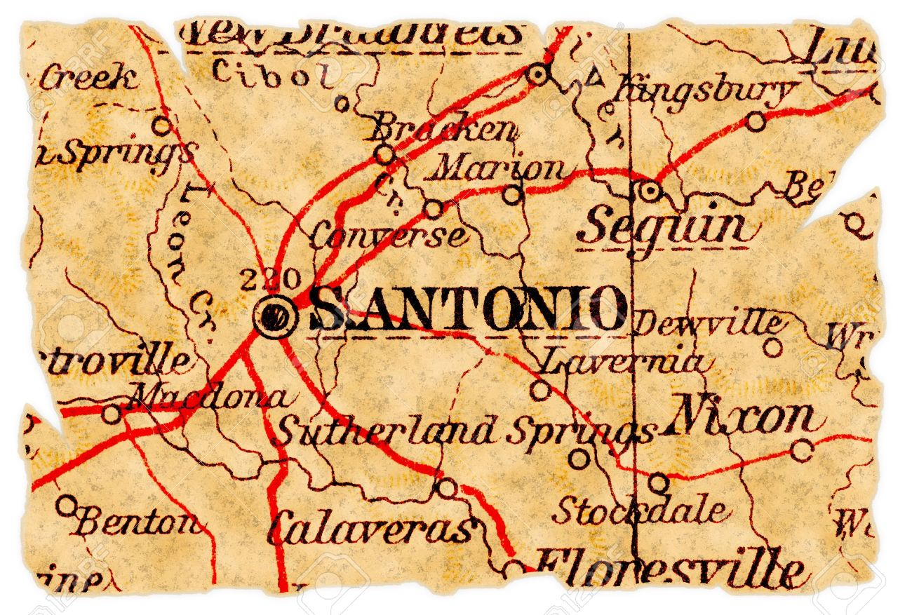 Map Of Texas San Antonio.San Antonio Texas On An Old Torn Map From 1949 Isolated Part