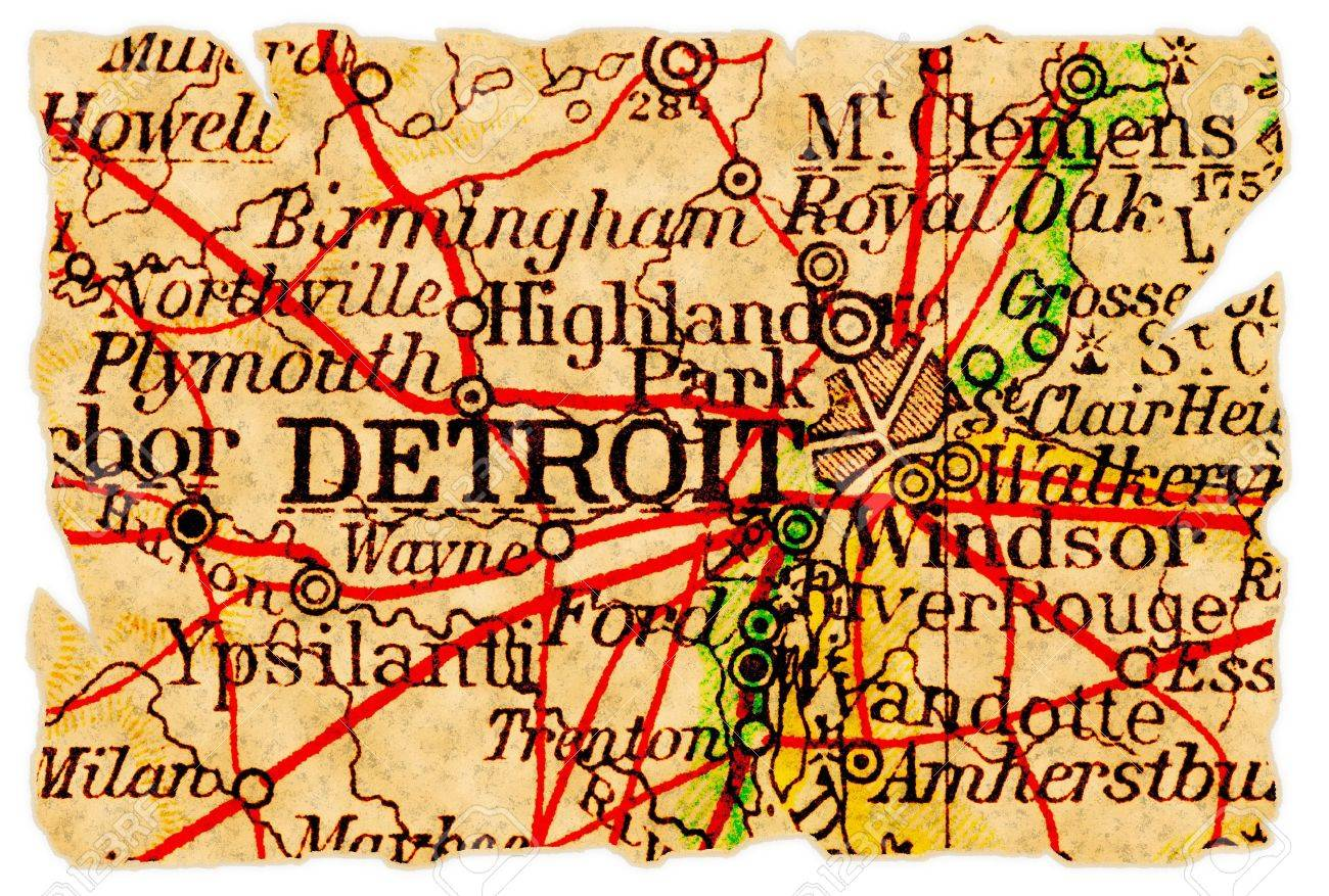 Detroit Michigan On An Old Torn Map From 1949 Isolated Part