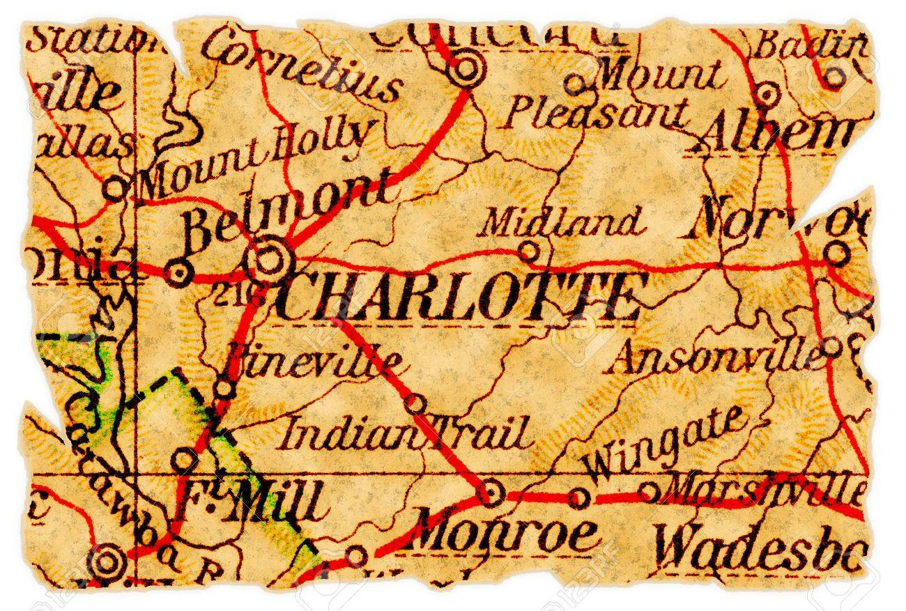 Charlotte, North Carolina On An Old Torn Map From 1949, Isolated ...