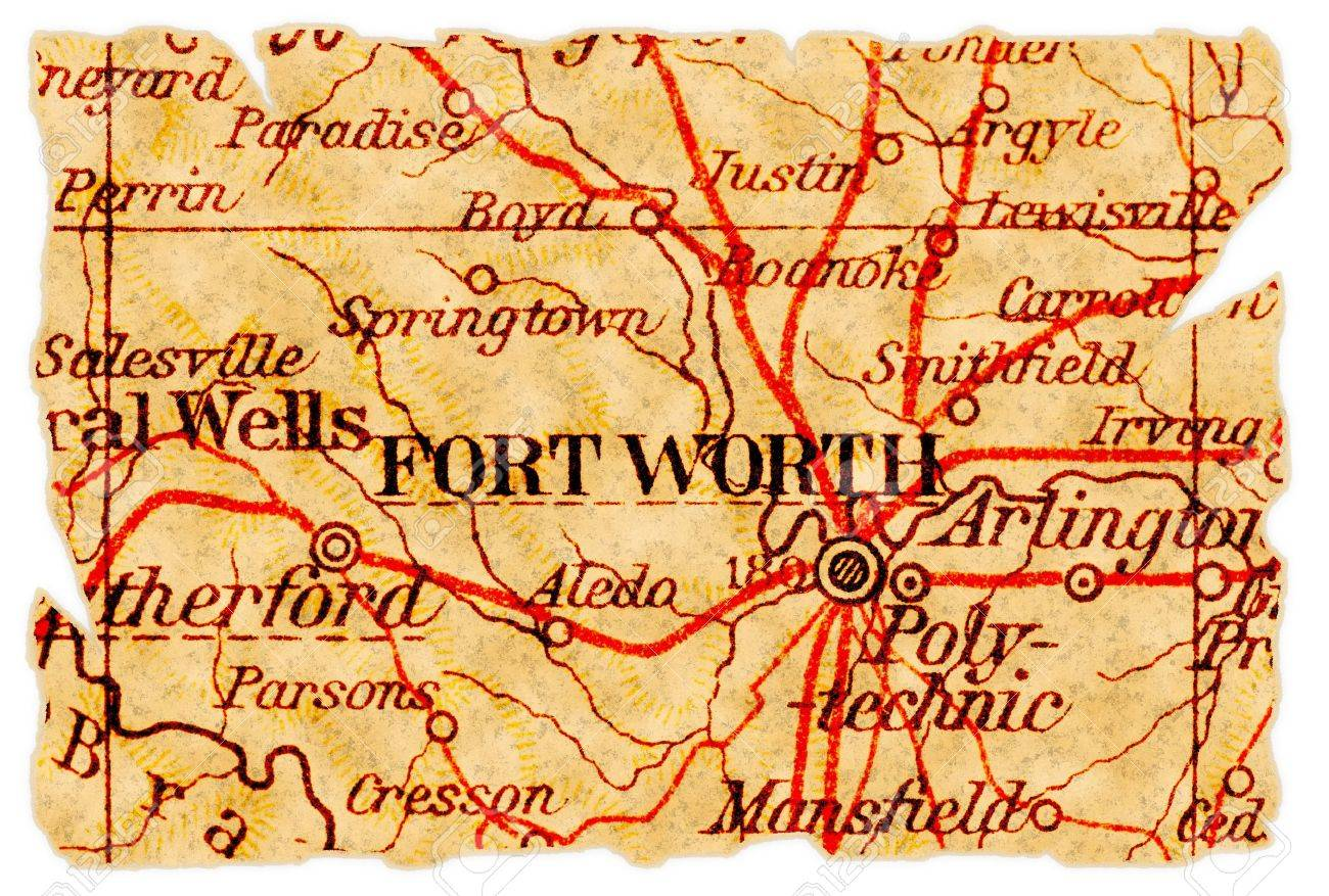 Old Map Of Texas.Fort Worth Texas On An Old Torn Map From 1949 Isolated Part