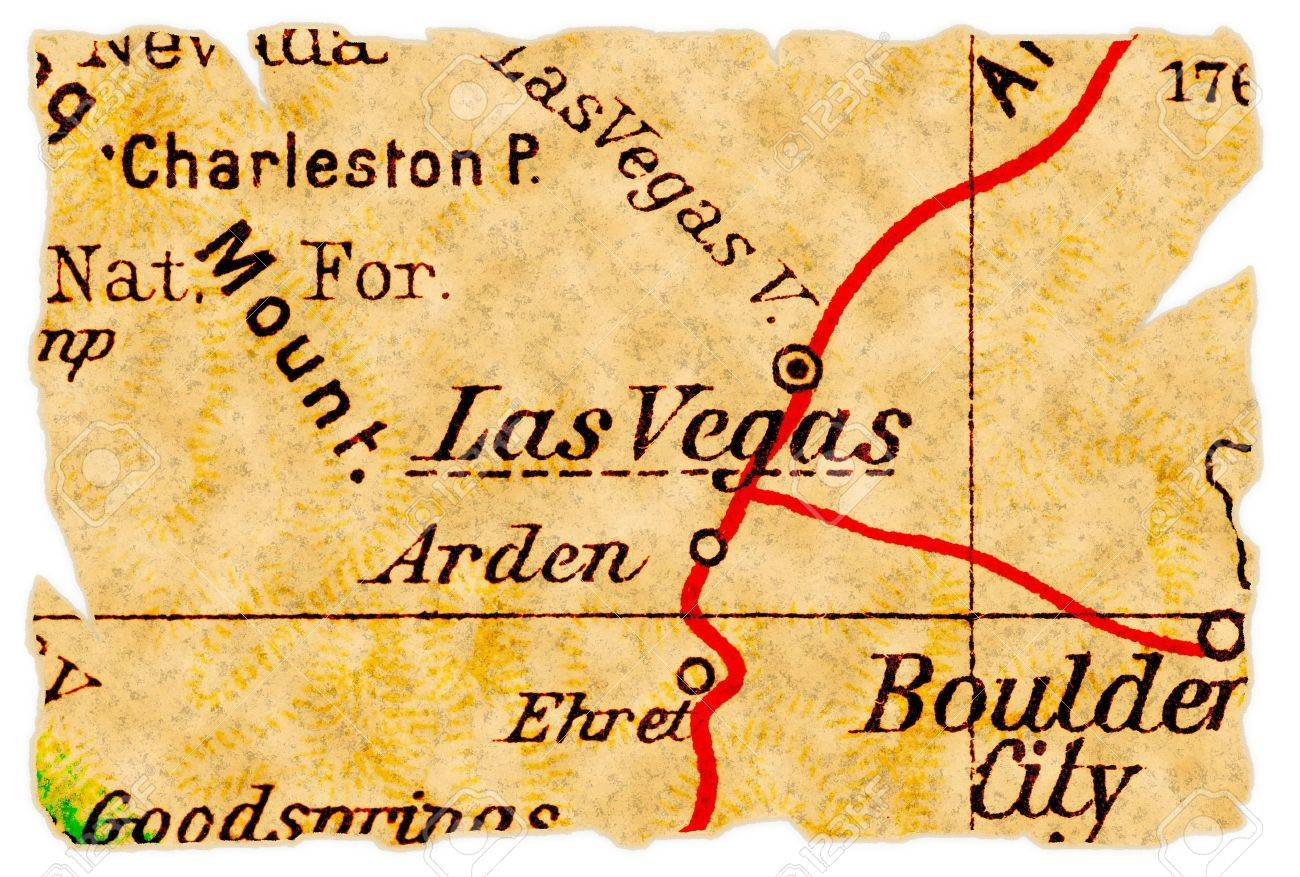 Las Vegas, Nevada On An Old Torn Map From 1949, Isolated. Part ...