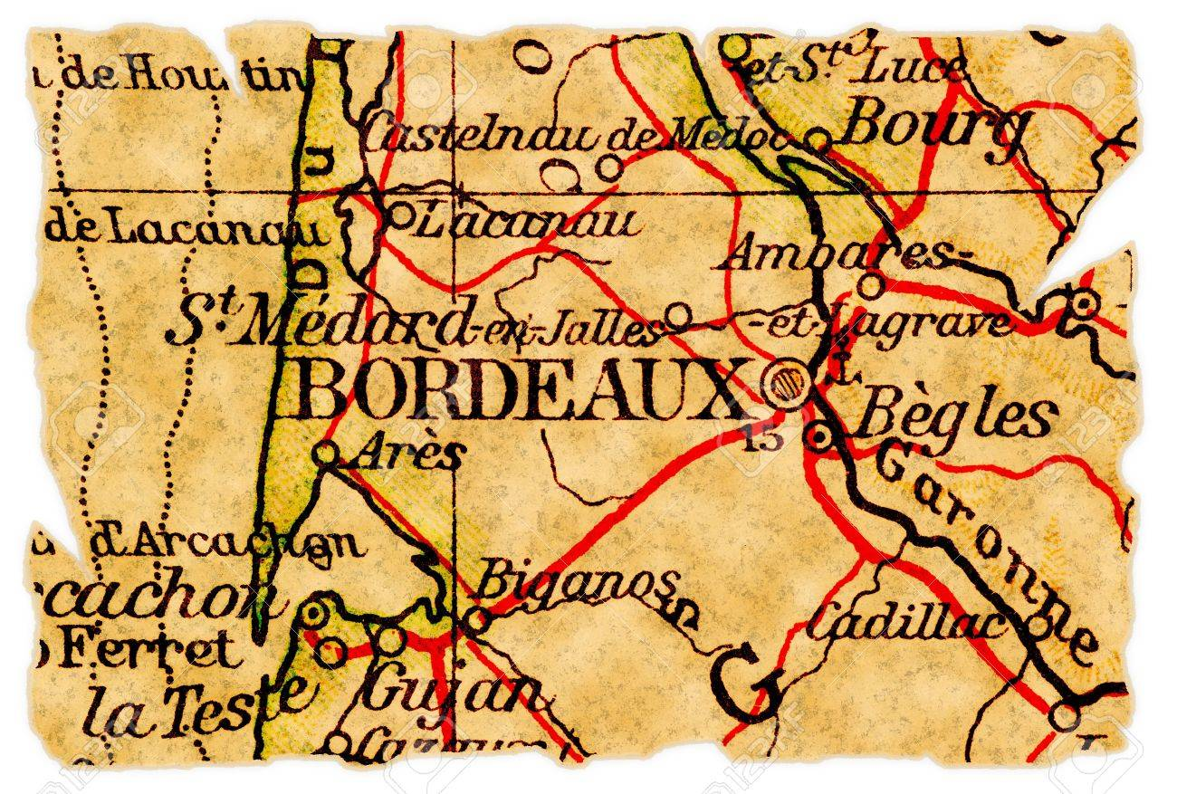 Bordeaux On Map Of France.Bordeaux France On An Old Torn Map From 1949 Isolated Part