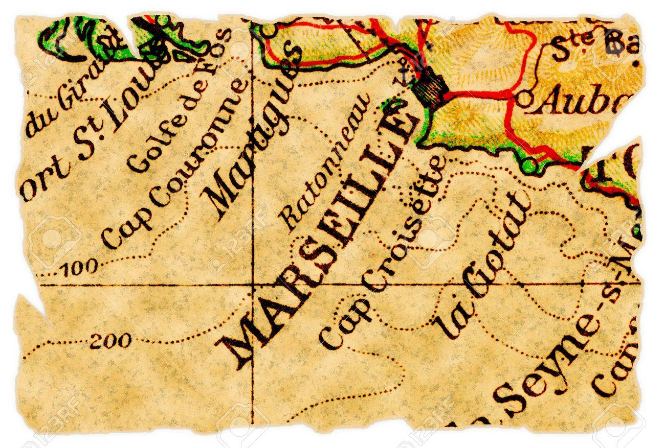 Marseille France On An Old Torn Map From 1949 Isolated Part