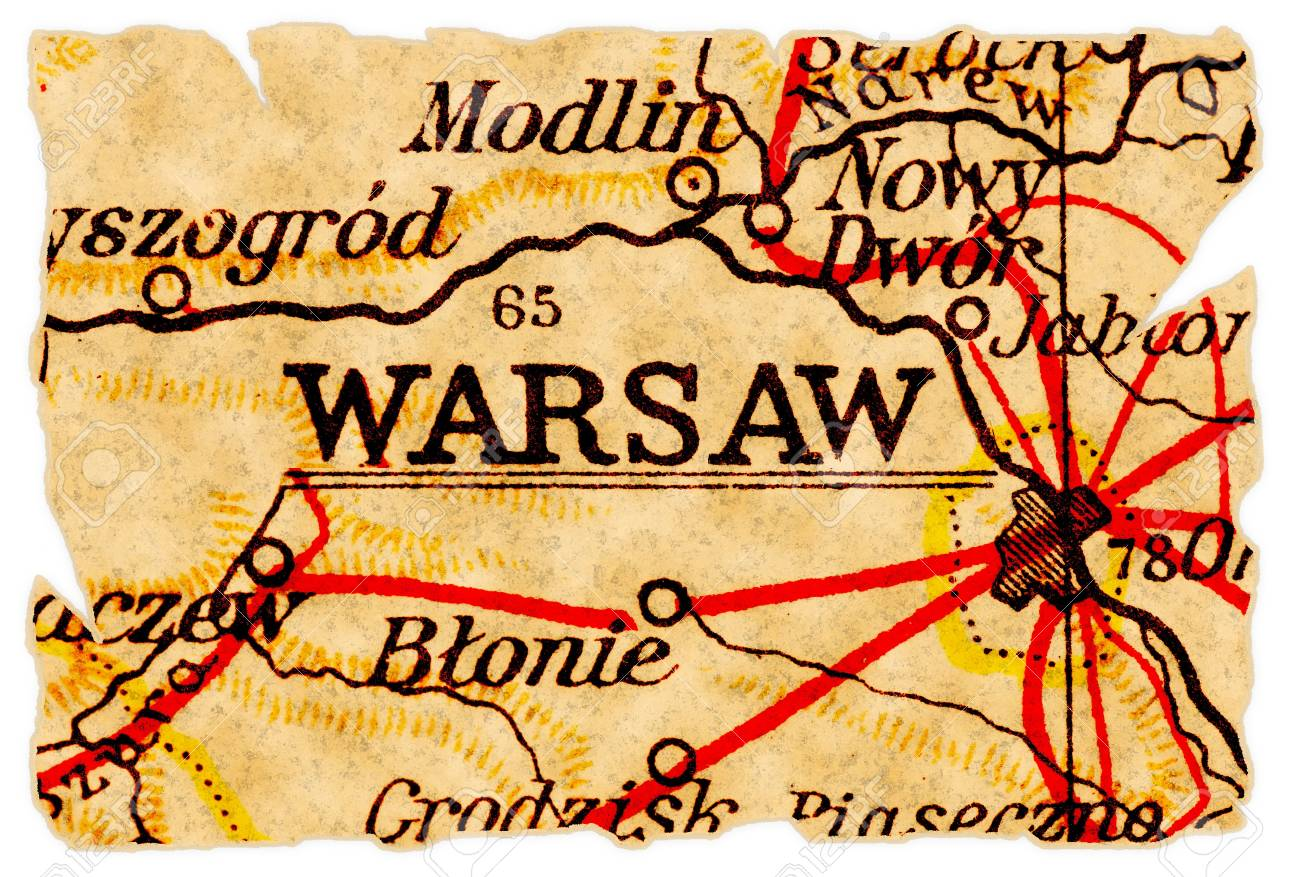 Warsaw Or Warszawa, Poland On An Old Torn Map From 1949, Isolated ...