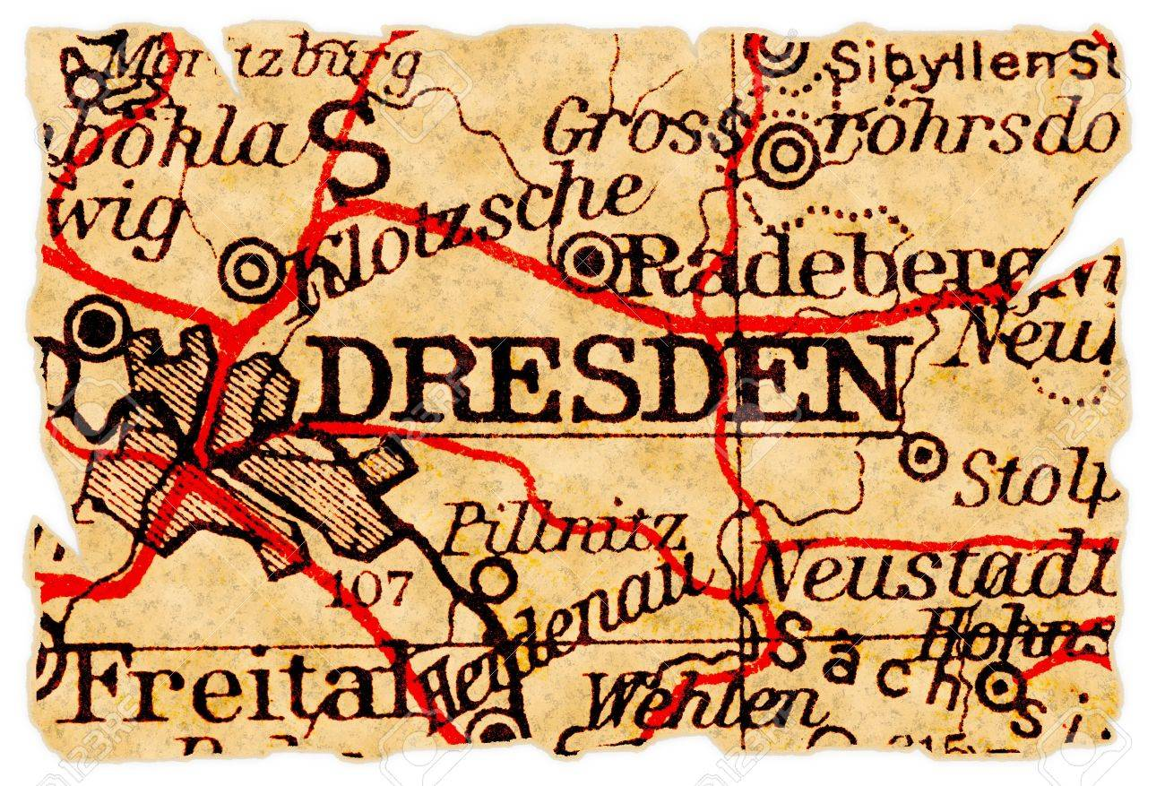 Dresden Germany On An Old Torn Map From 1949 Isolated Part