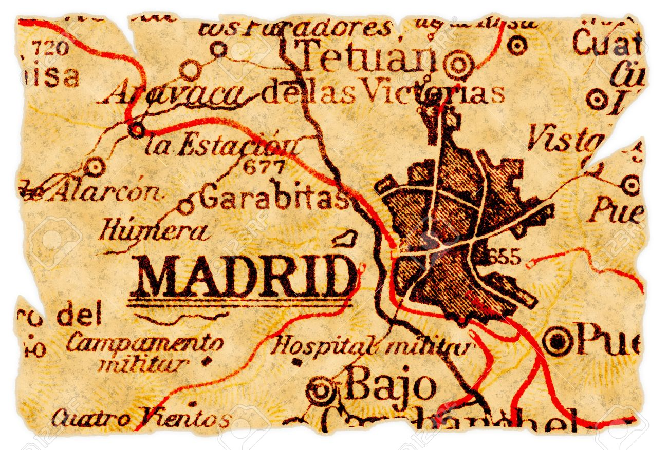 Map Of Spain Old.Madrid Spain On An Old Torn Map From 1949 Isolated Part Of
