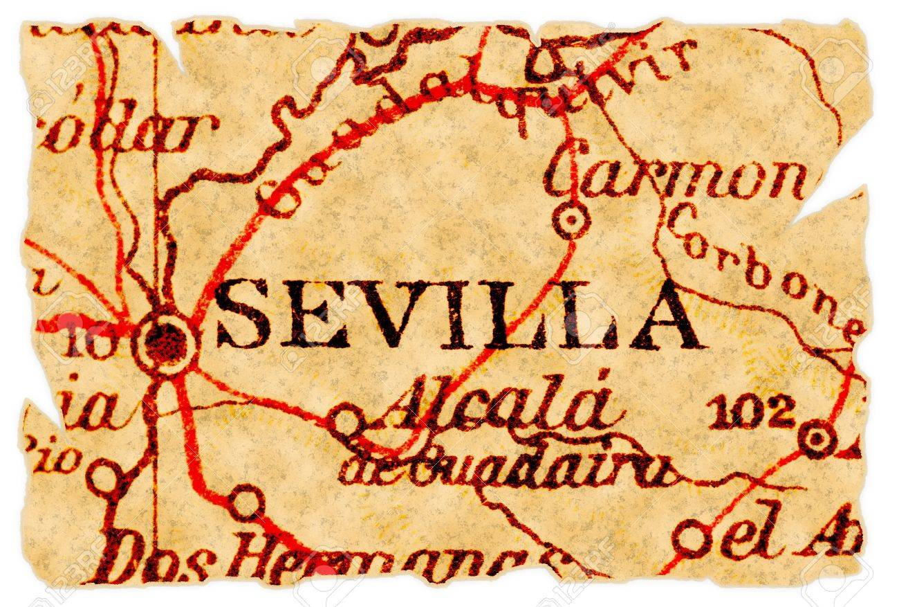 Sevilla Spain On An Old Torn Map From 1949 Isolated Part Of