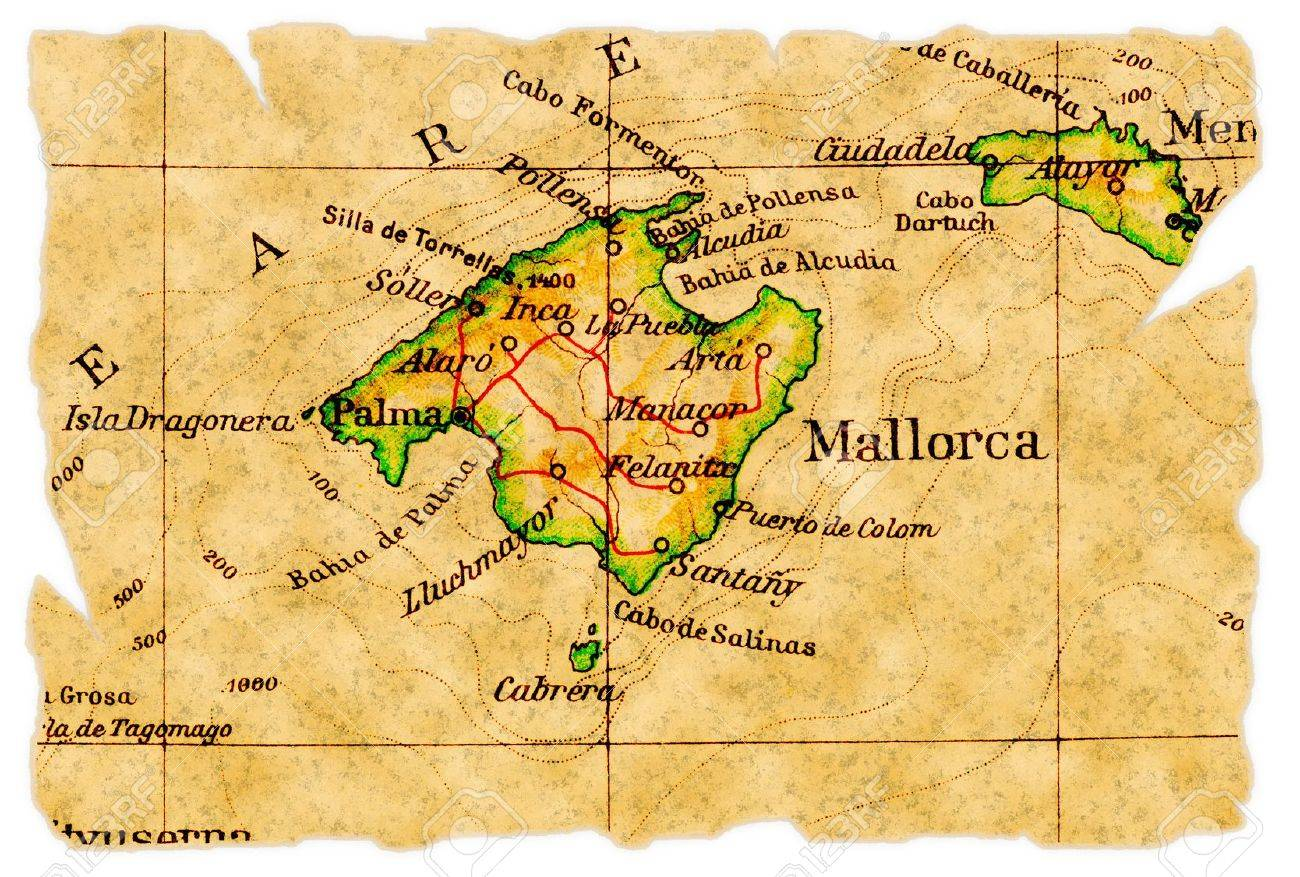 Mallorca Spain On An Old Torn Map From 1949 Isolated Part Stock