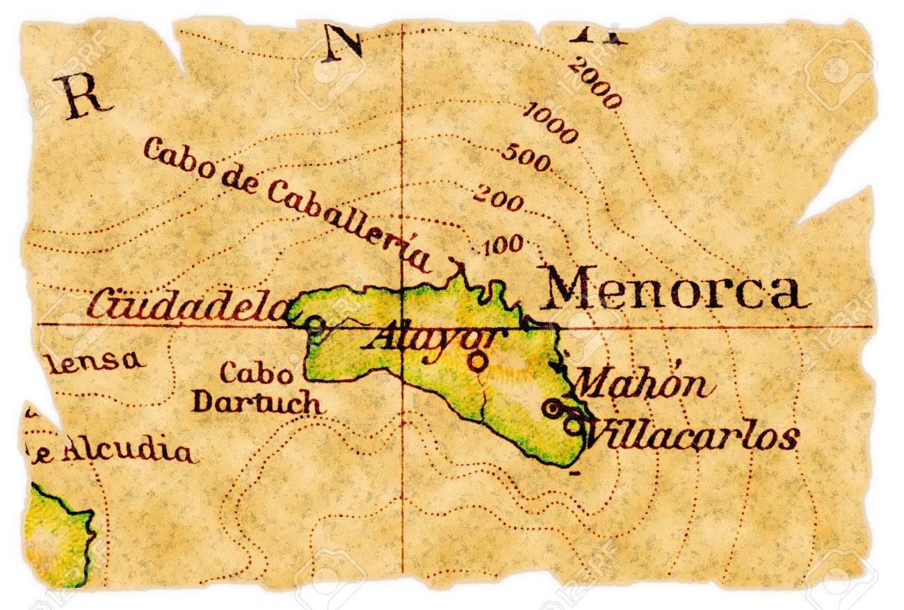 Minorque Espagne Sur Une Vieille Carte Dechiree De 1949 Isole Partie De La Serie De Cartes Anciennes Banque D Images Et Photos Libres De Droits Image 8154302