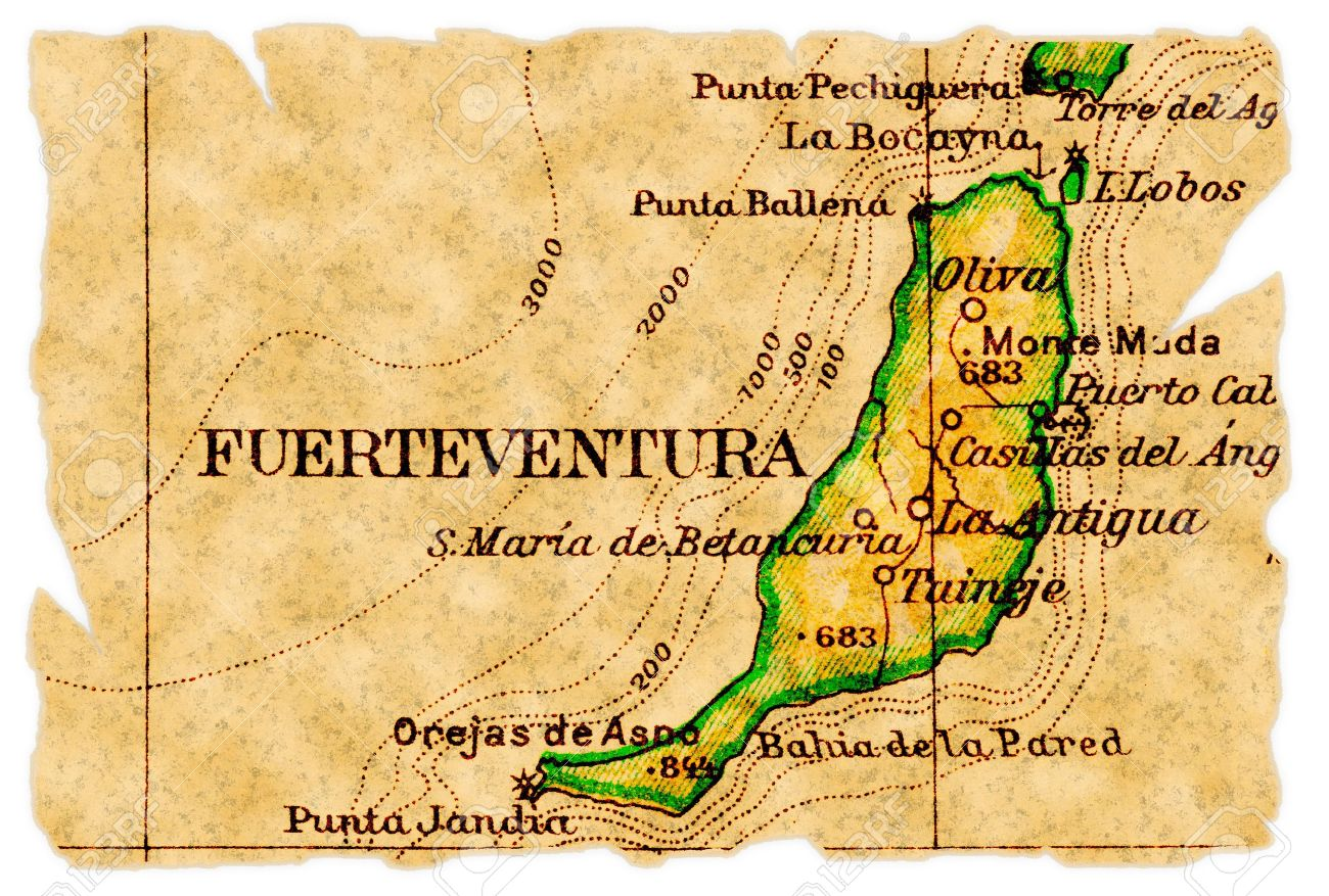Fuerteventura Canary Islands On An Old Torn Map From 1949 Isolated