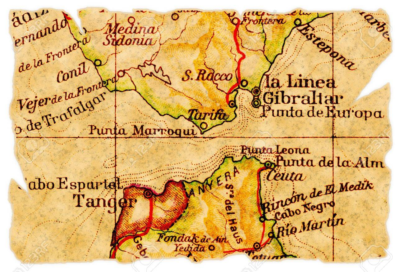 Strait Of Gibraltar On An Old Torn Map From 1949 Isolated Part