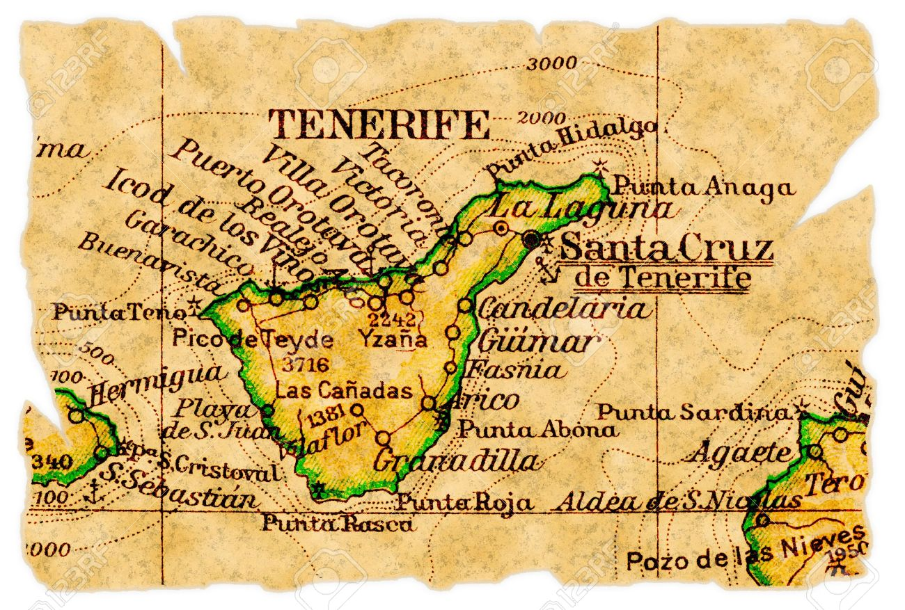 Tenerife, Canary Islands on an old torn map from 1949, isolated...