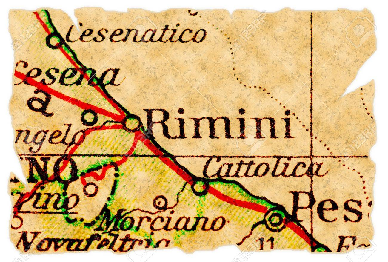 Rimini Italy On An Old Torn Map From 1949 Isolated Part Of