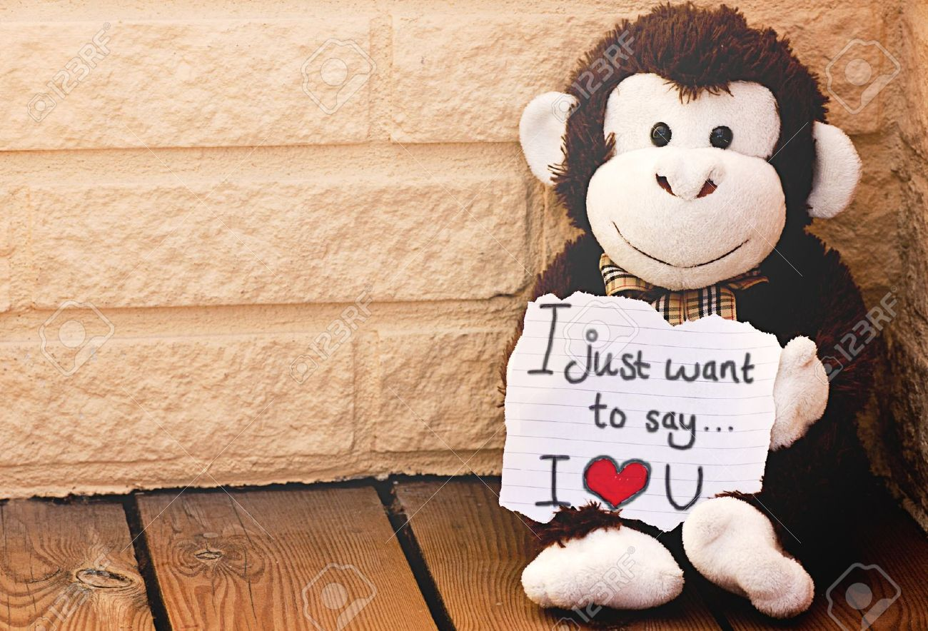 A Monkey With The Message I Love You Stock Photo Picture And