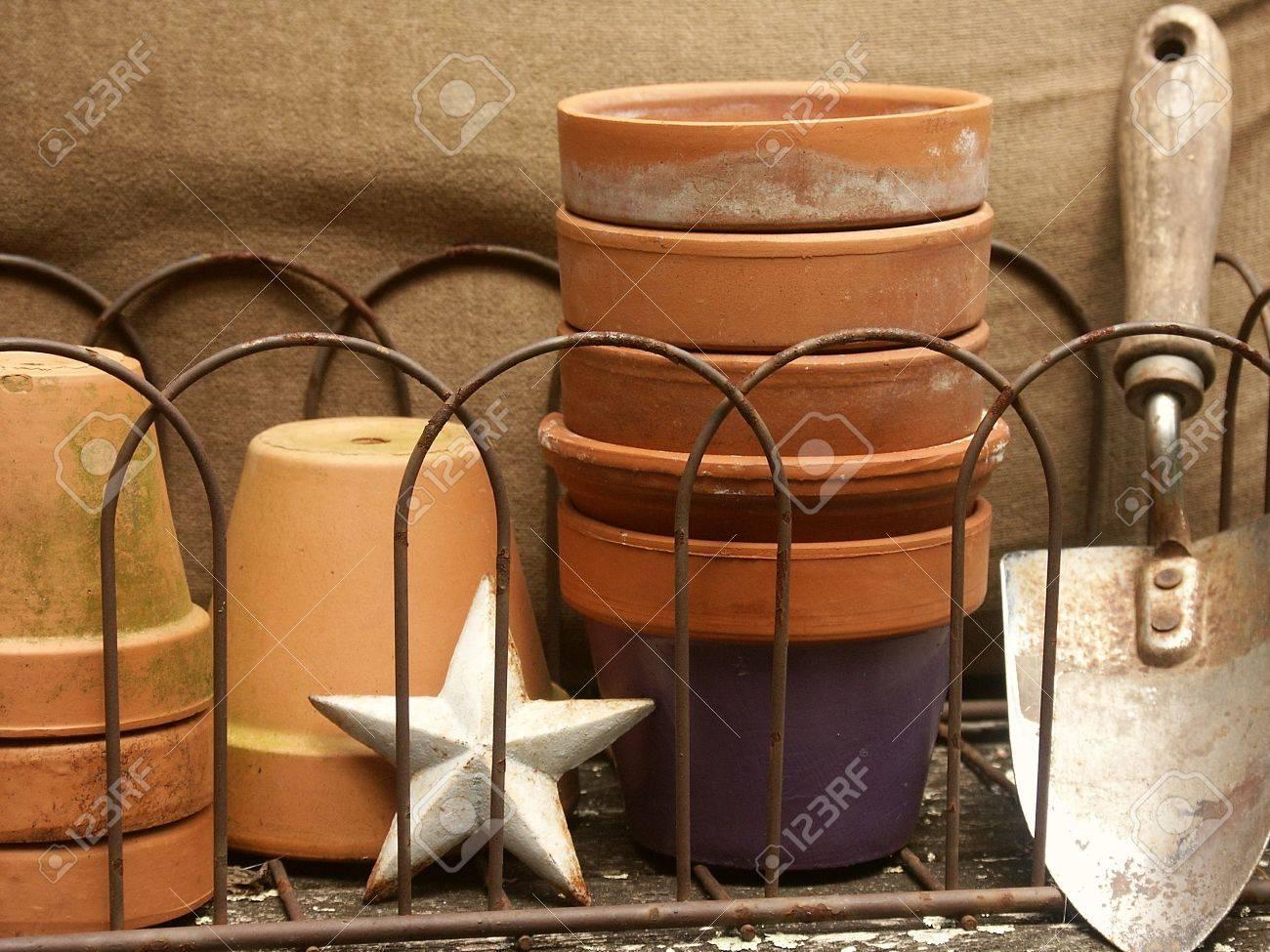 Vintage Wire Basket Of Stacked Terra Cotta Flower Pots, Garden ...