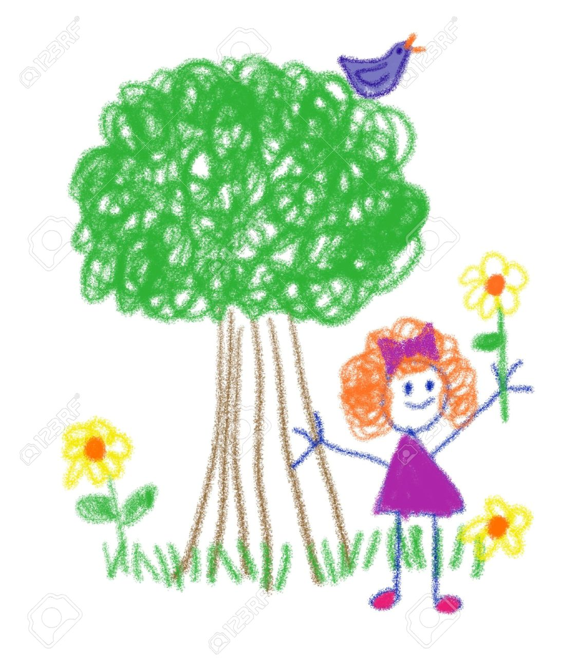 Drawing of little girl holding a flower in the style of a child's crayon drawing Stock Photo - 5451620
