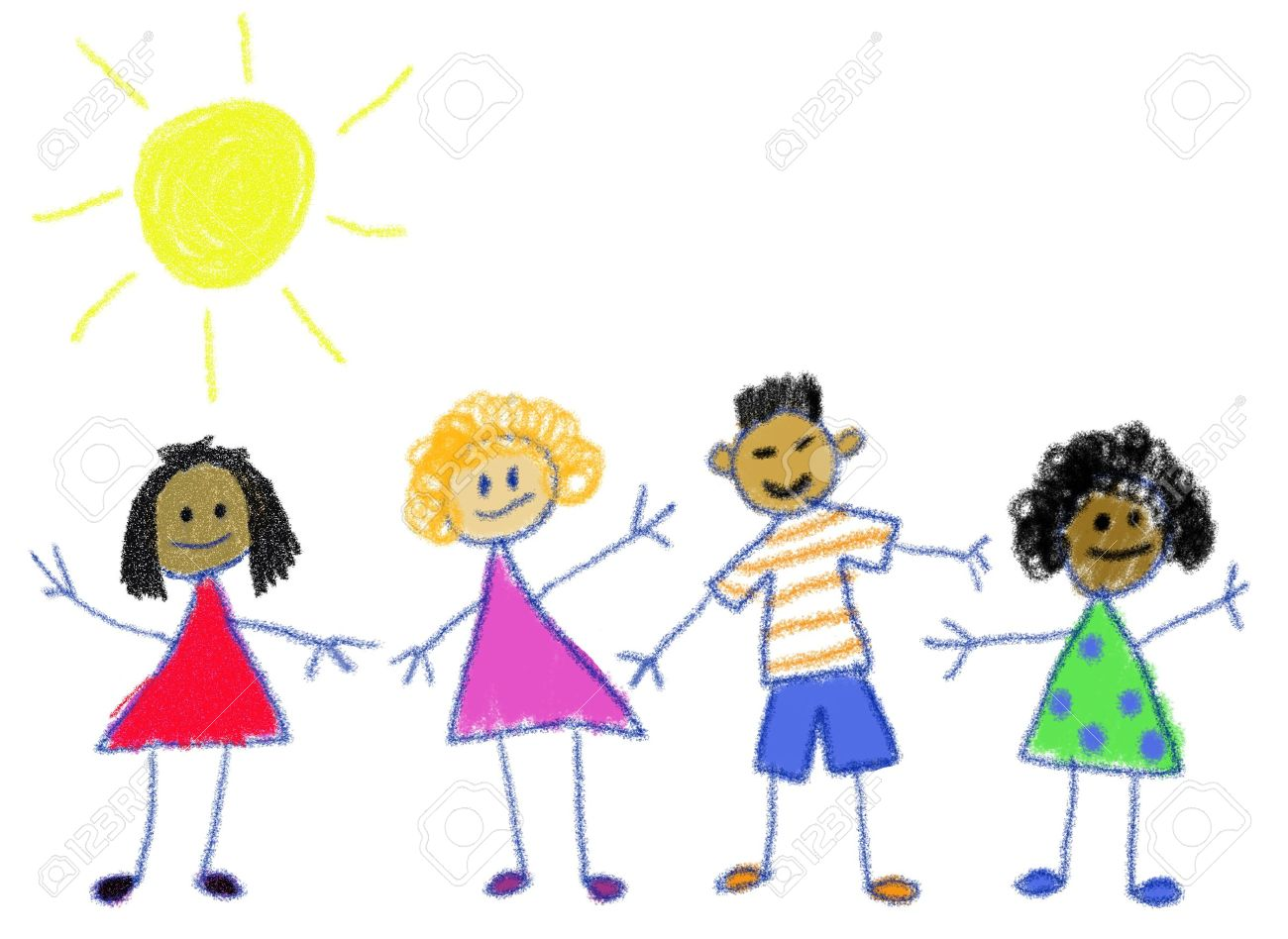Multicultural kids in the style of a child's crayon drawing Stock Photo - 5451618