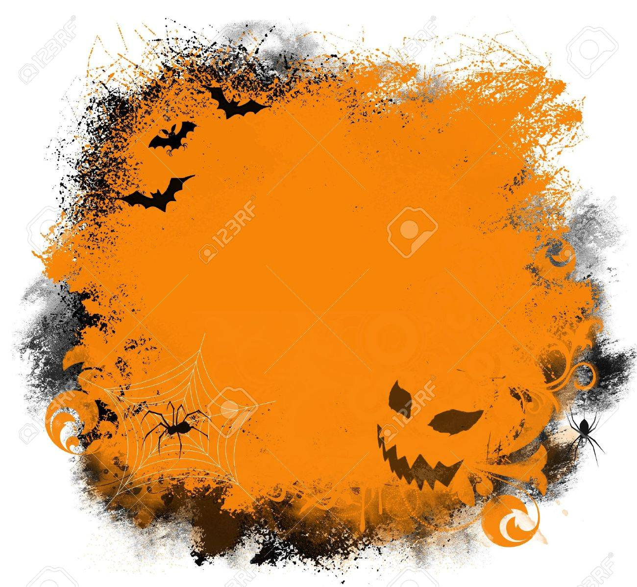 fun halloween background with bats spiders and jack o lantern