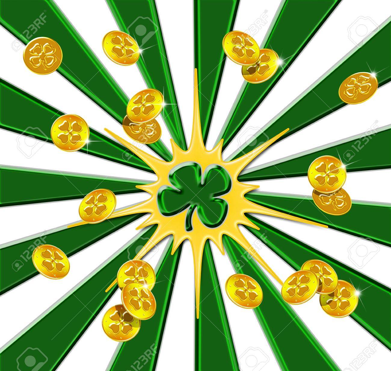 Gold coins from a pot of gold scattering outward from a shamrock Stock Photo - 8713307