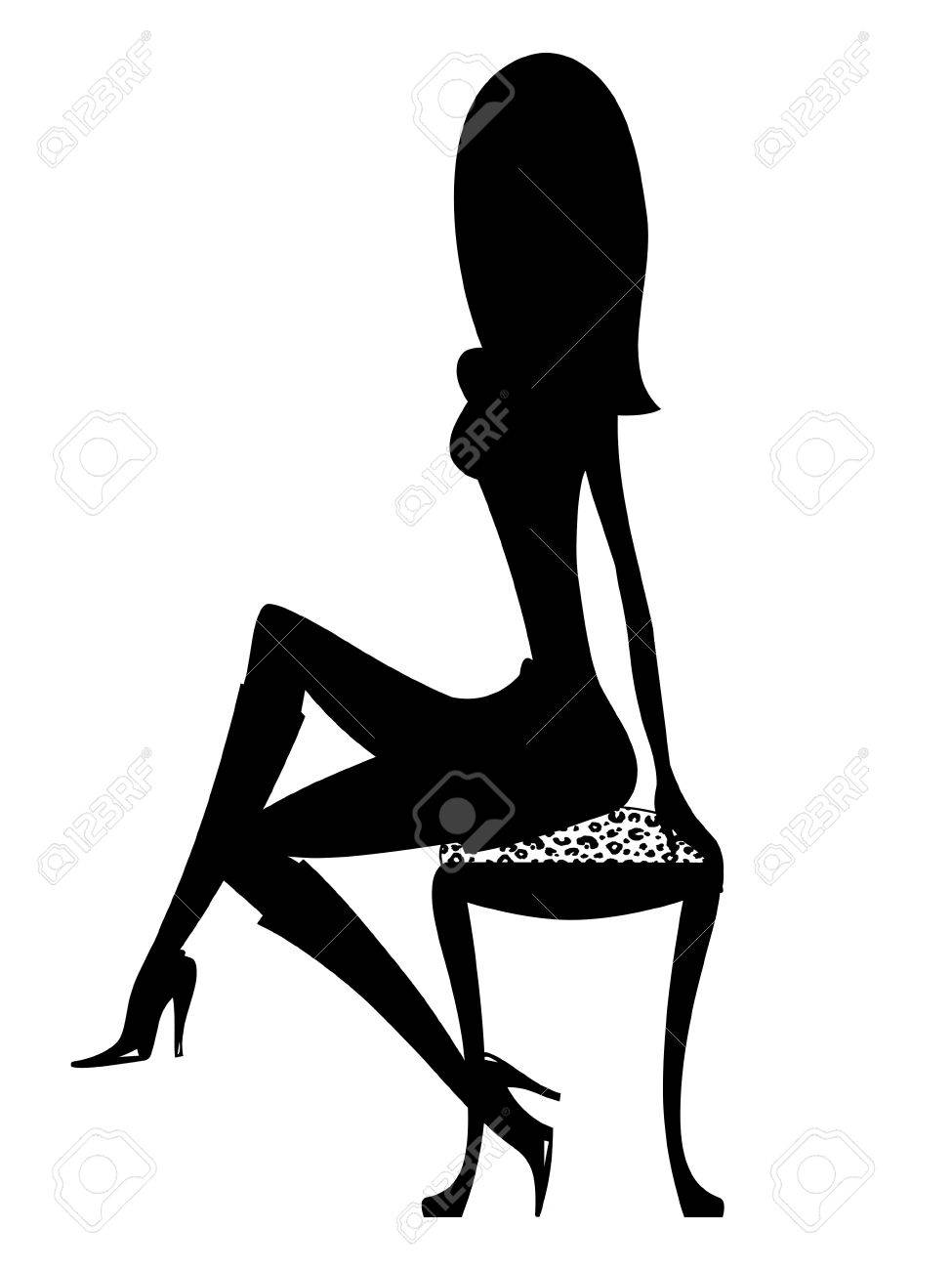 Silhouette of a sexy girl in boots perched on a leopard stool Stock Photo - 10385665