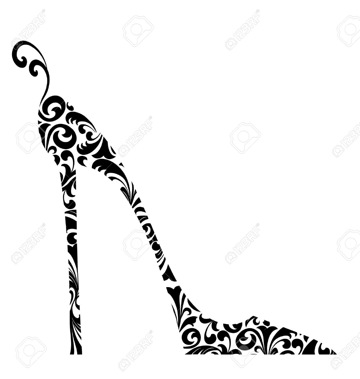 Cute retro fashion illustration of a high-heeled shoe with curlicues Stock Photo - 10395210