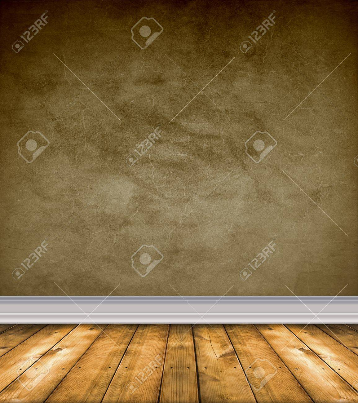 Empty grunge room with brown walls and bare wood floor Stock Photo - 12726396