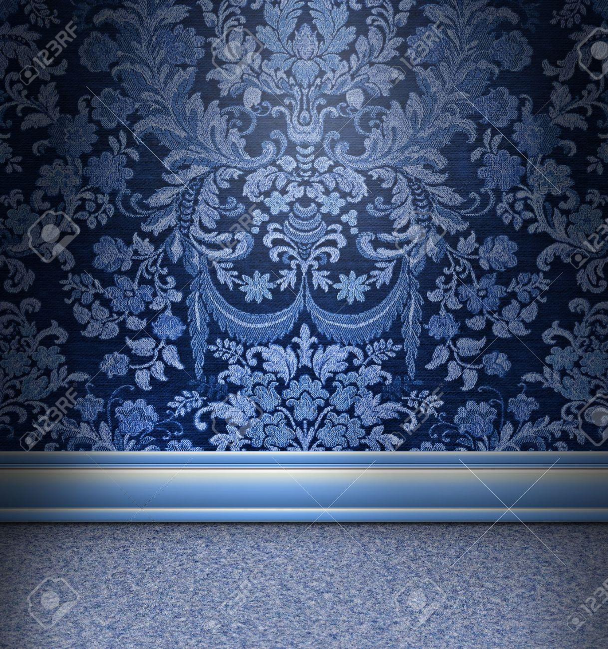 Schone Zimmer Mit Blauem Damast Hellblau Teppich Lizenzfreie Fotos