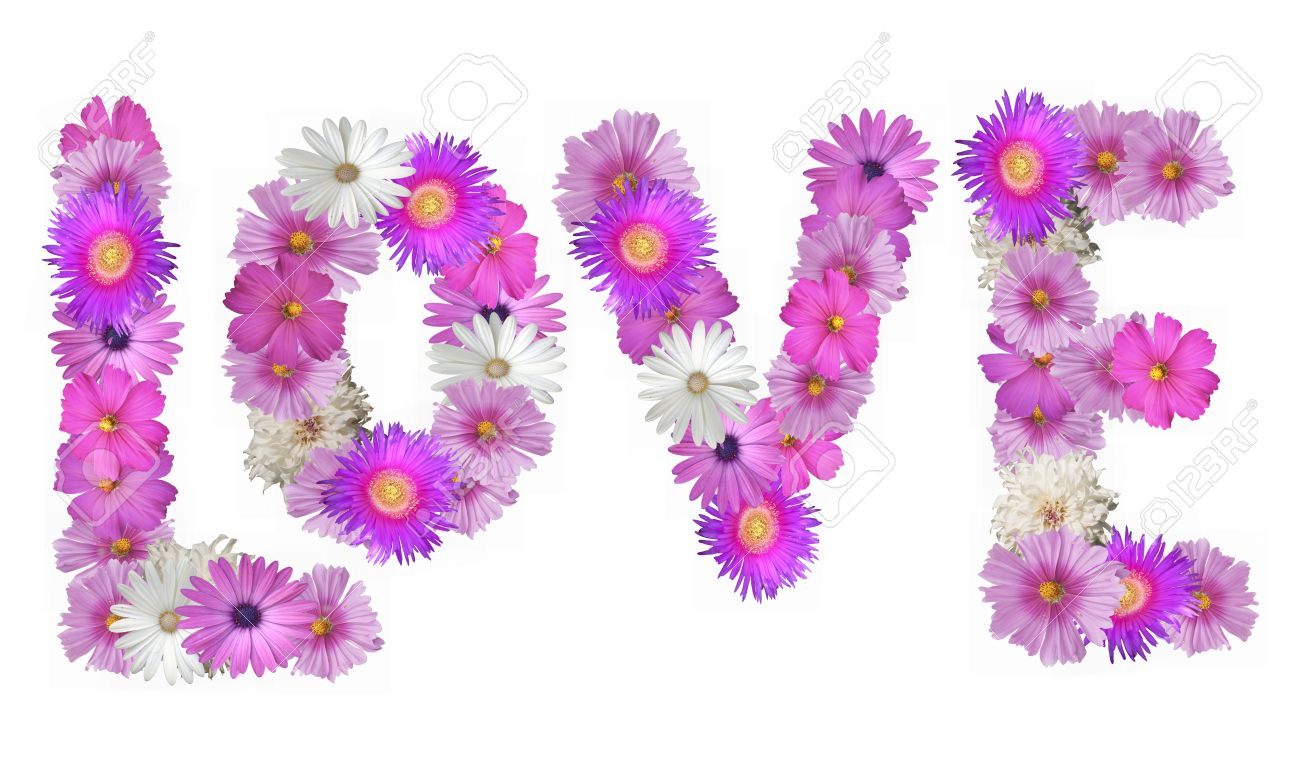 Stock Photo The Word Love Spelled Out In Pink And White Flowers