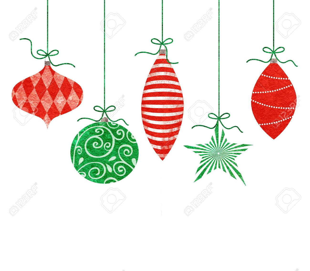 Christmas Ornament: Five Cute Retro Christmas Ornaments Hanging By Green  String