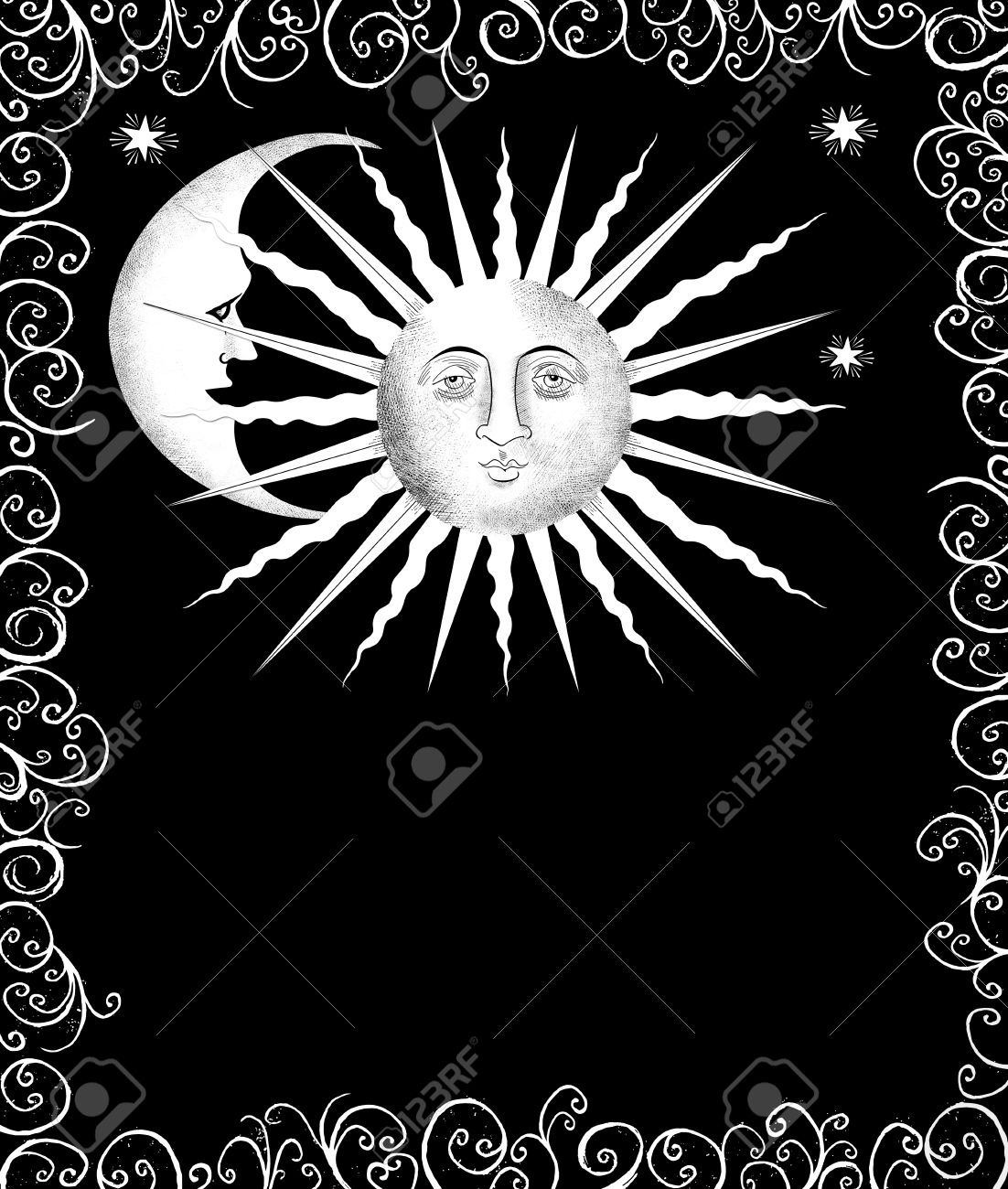 Decorative Drawing Of The Sun And Moon In A Curlicue Frame Stock