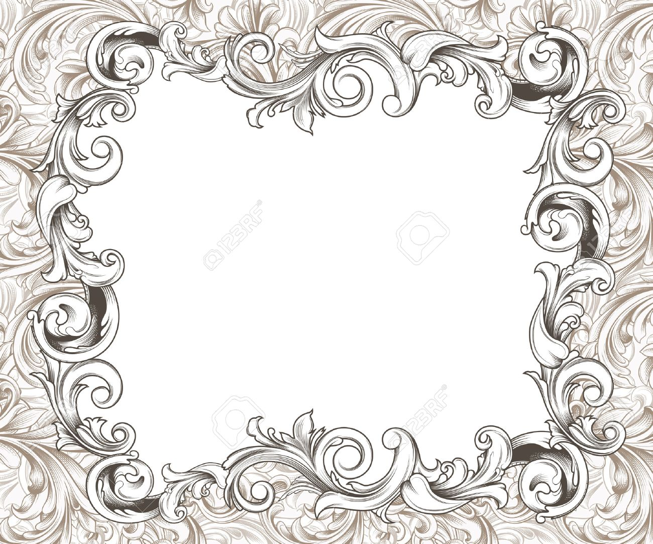 ornate baroque or rococo frame of hand drawn engraved flourishes stock photo 33876883