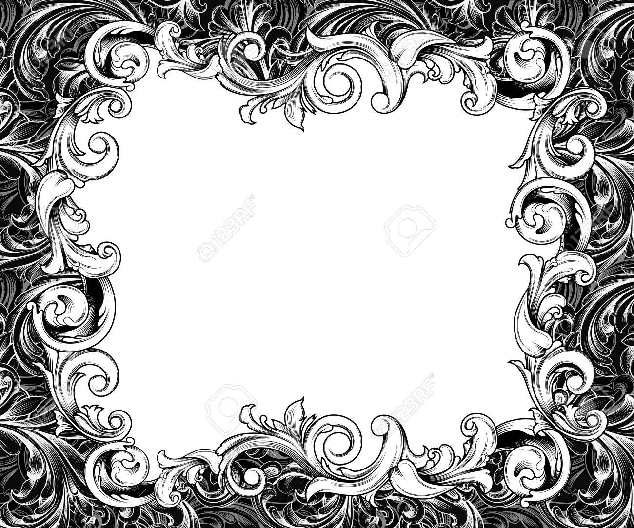 ornate baroque or rococo frame of hand drawn engraved flourishes stock photo 33876892