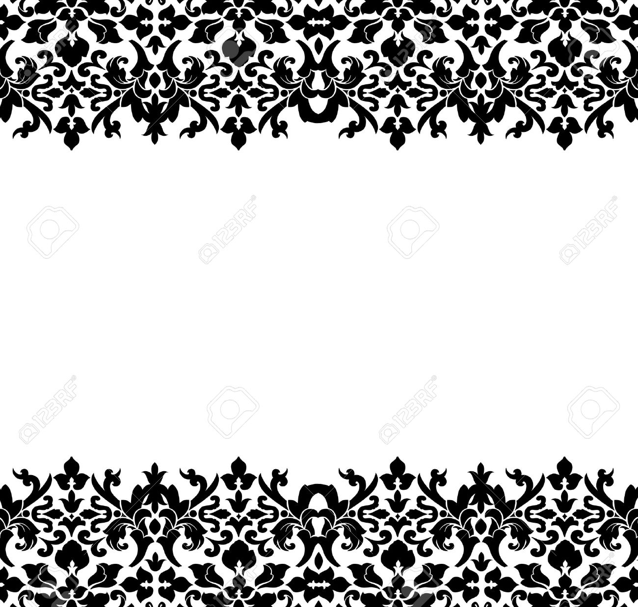 Border Or Frame Of Black Damask Stock Photo, Picture And Royalty ...