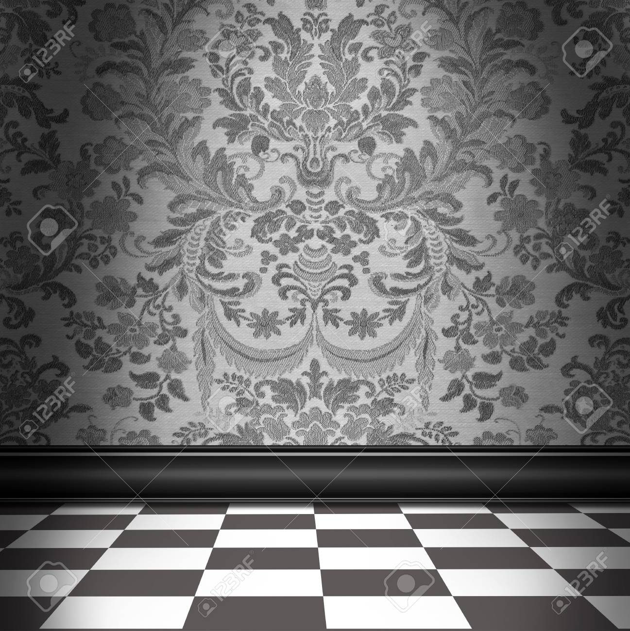 Dramatic Room With Silver Gray Flocked Damask Wallpaper And White Checkerboard Floor Stock