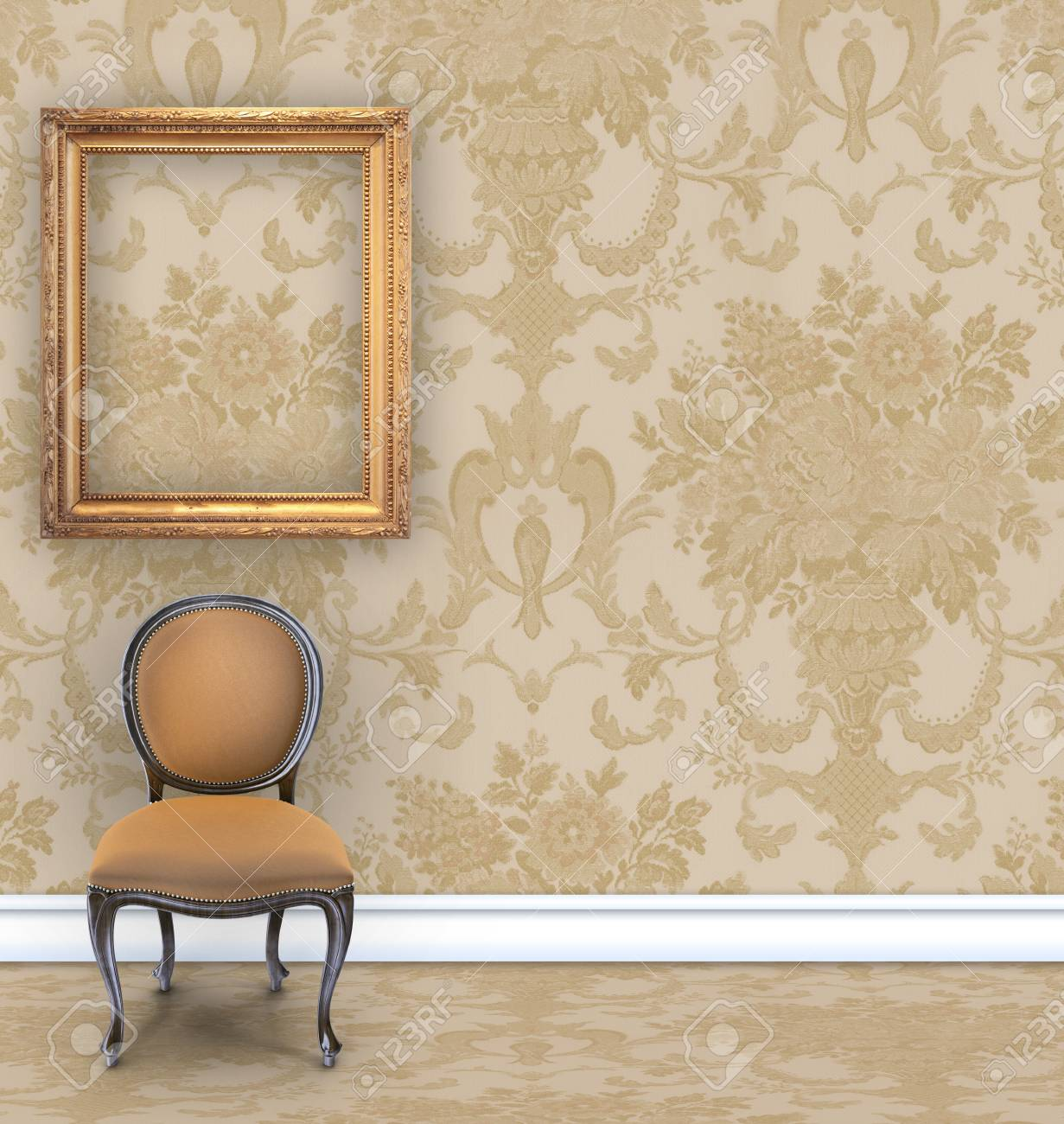 Room With Tan Damask Wallpaper A Velvet Chair And An Empty Gold Picture Frame