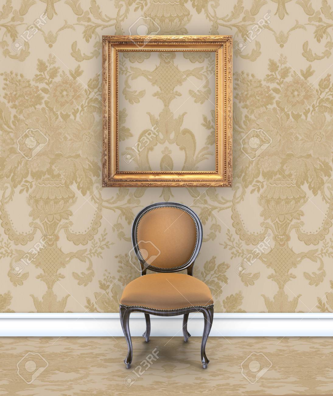 Stock Photo   Wall With Rich Tan Damask Wallpaper, A Velvet Chair, And An  Empty Gold Picture Frame
