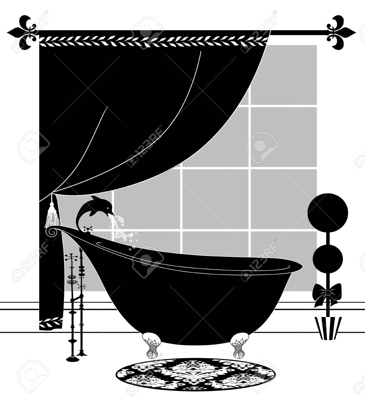Cute black and white drawing of a chic bathroom with topiary