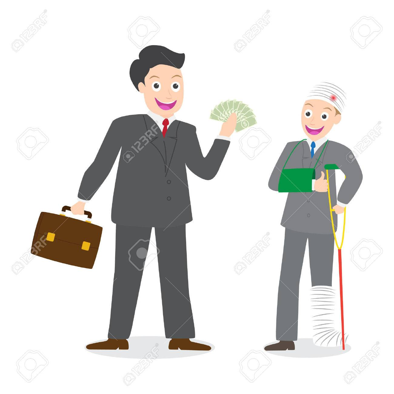 Agente De Seguros De Pagar Dinero De La Indemnización Al Empresario ...