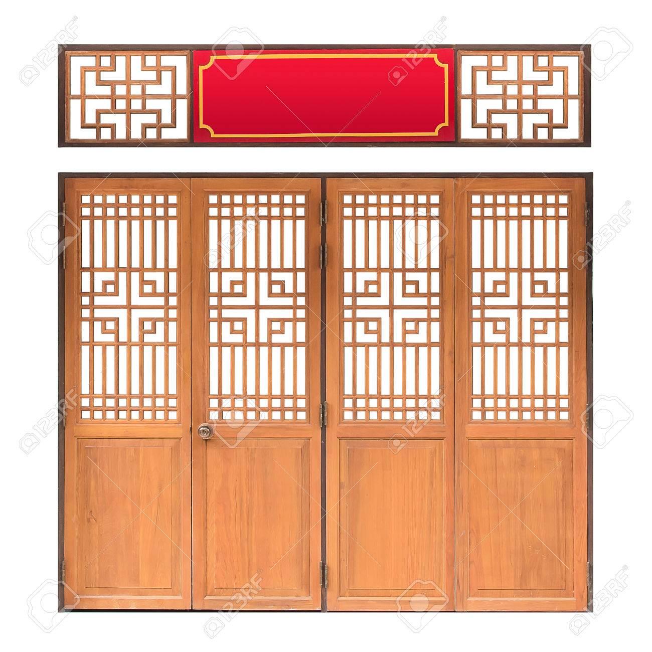 Ventana Tradicional De Asia Y El Patrón De La Puerta, Marco Rojo ...