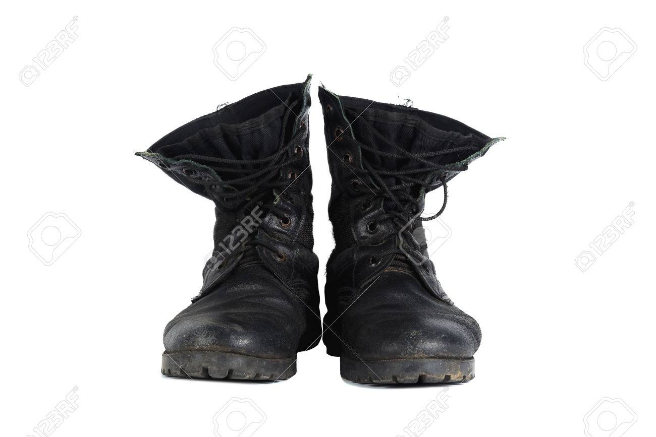 Black Combat Men Boot, Black Military Boots At Through Use, Isolated..  Stock Photo, Picture And Royalty Free Image. Image 68181831.